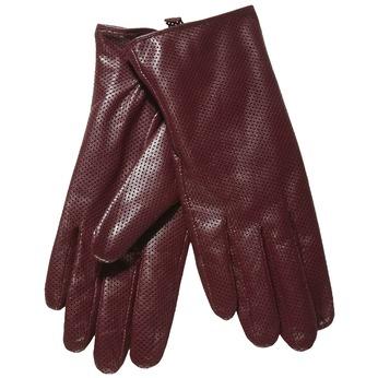 Damskie skórzane rękawiczki z perforacją bata, czerwony, 904-5114 - 13