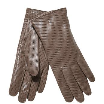 Damskie skórzane rękawiczki z perforacją bata, szary, 904-2114 - 13