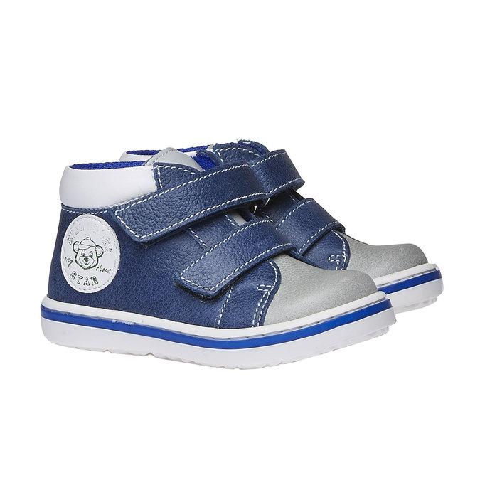 Dziecięce skórzane buty sportowe na rzepy bubblegummer, niebieski, 114-9147 - 26