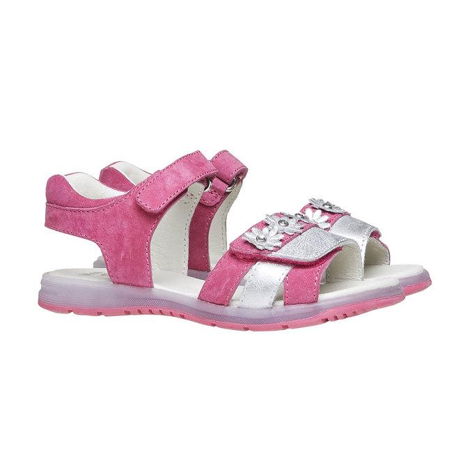 Skórzane sandały z kwiatami mini-b, różowy, 263-5163 - 26
