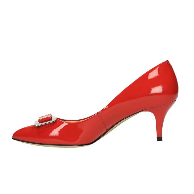 Czerwone czółenka damskie ze skóry bata, czerwony, 628-5630 - 26