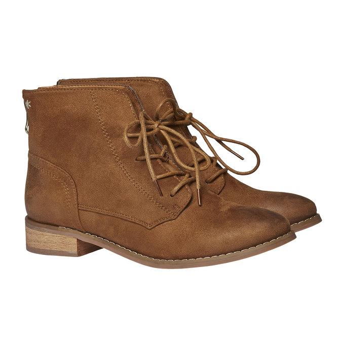 Skórzane sznurowane buty bata, brązowy, 599-3493 - 26