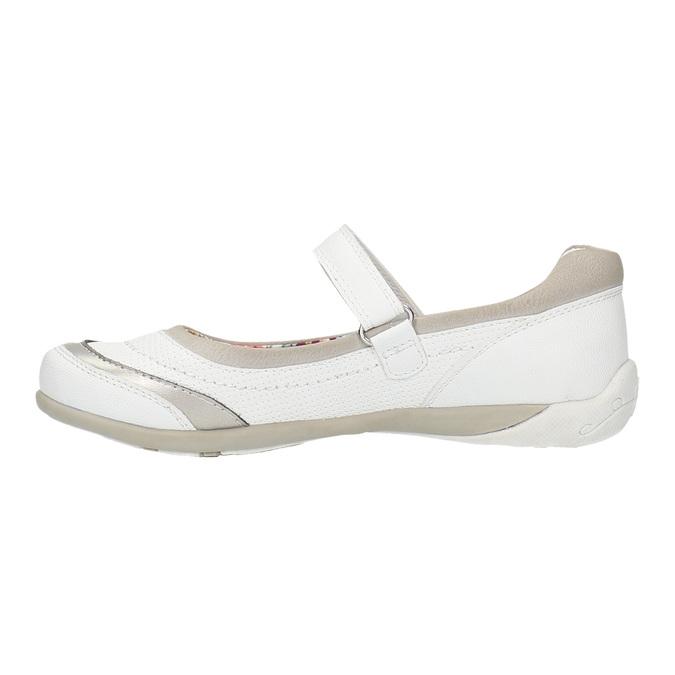 Białe baleriny z paskiem na podbiciu bata, biały, 321-1310 - 26