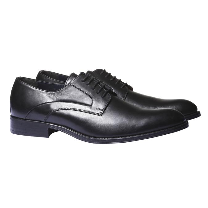 Skórzane półbuty w stylu derby bata, czarny, 824-6108 - 26