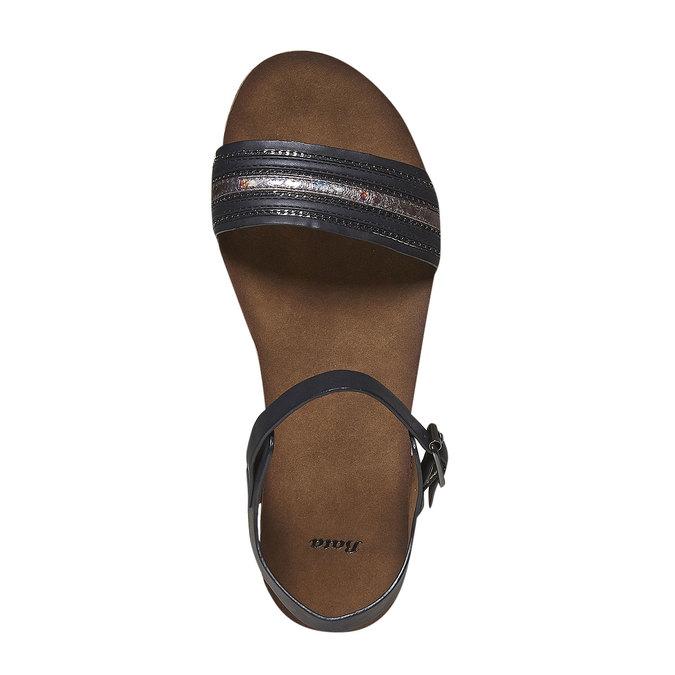 Damskie sandały na wyrazistej podeszwie bata, czarny, 561-6404 - 19