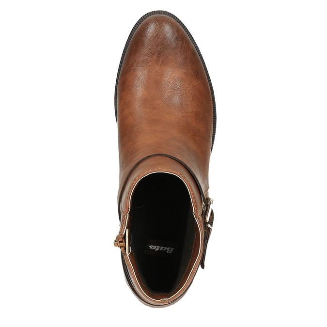 Brązowe buty za kostkę ze skóry bata, brązowy, 591-4602 - 19