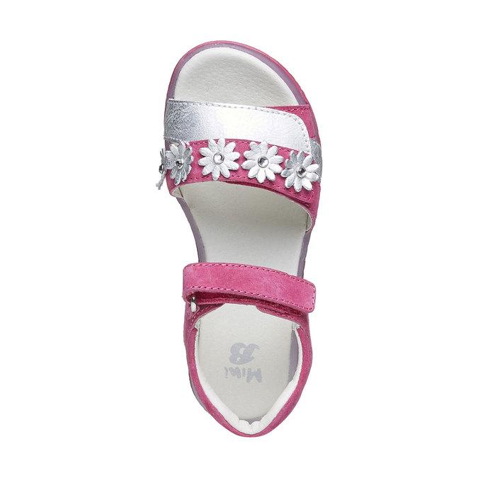 Skórzane sandały z kwiatami mini-b, różowy, 263-5163 - 19