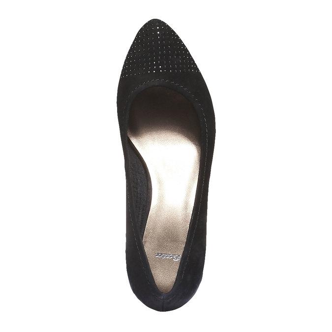 Skórzane czółenka z wydłużonym noskiem bata, czarny, 626-6103 - 19