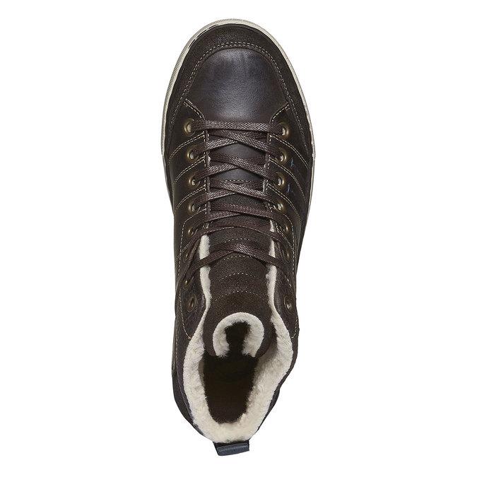 Skórzane, ocieplane buty sportowe do kostki bata, brązowy, 894-4127 - 19