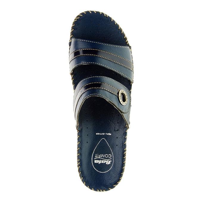 Damskie pantofle na koturnie, niebieski, 674-9249 - 19