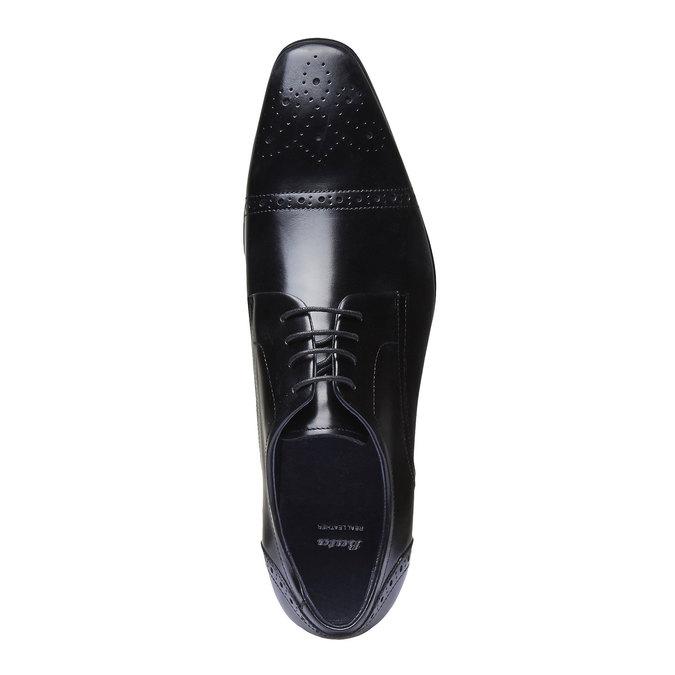 Skórzane półbuty o kroju derby ze zdobieniami bata, czarny, 824-6274 - 19