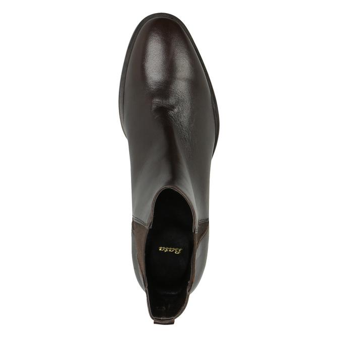 Skórzane botki z elastycznymi bokami bata, brązowy, 596-4623 - 19