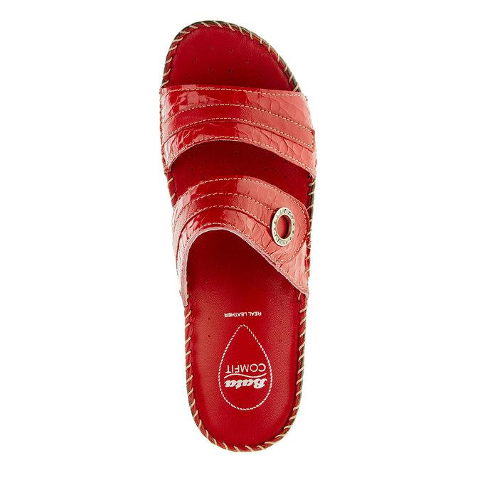Damskie pantofle na koturnie, czerwony, 674-5249 - 19