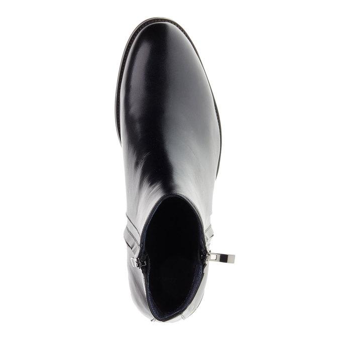 Skórzane botki z zamkami bata, czarny, 894-6138 - 19