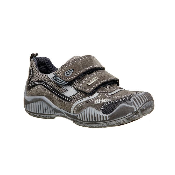 Dziecięce skórzane buty sportowe na rzepy mini-b, szary, 213-2130 - 13