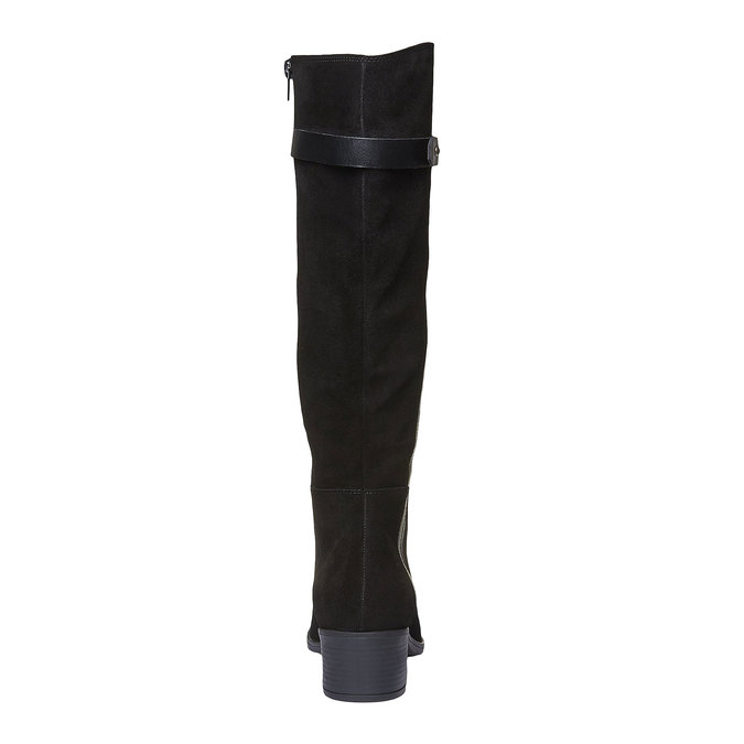 Zamszowe kozaki bata, czarny, 693-6100 - 19