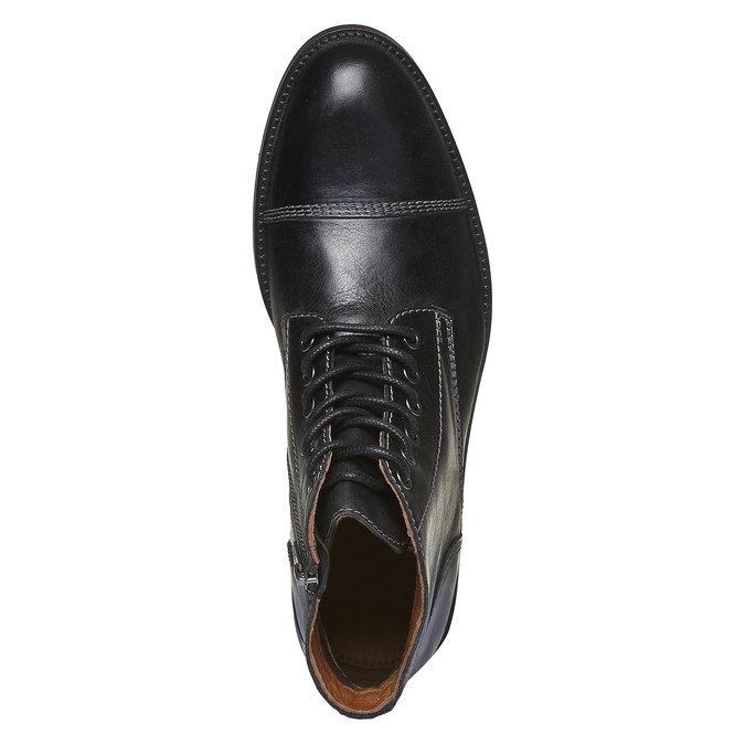 Skórzane botki z charakterystycznymi przeszyciami bata, czarny, 894-6125 - 19