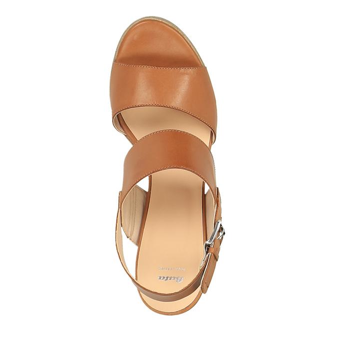 Skórzane sandały na szerokim obcasie bata, brązowy, 664-3205 - 19