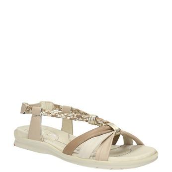 Skórzane sandały zzaplatanymi paskami bata-touch-me, beżowy, 564-8353 - 13