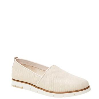Skórzane buty Slip-on z perforacją flexible, beżowy, 513-8200 - 13