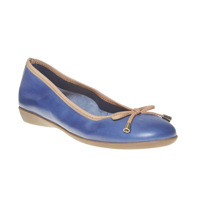 Damskie skórzane baleriny bata, niebieski, 524-9485 - 13