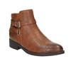 Brązowe buty za kostkę ze skóry bata, brązowy, 591-4602 - 13