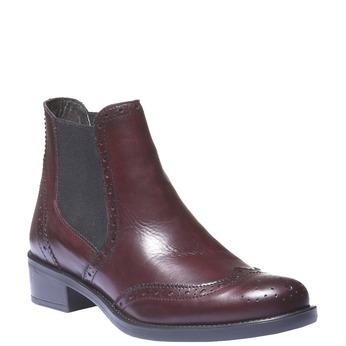 Skórzane buty Chelsea ze zdobieniem typu Brogue bata, czerwony, 594-5532 - 13