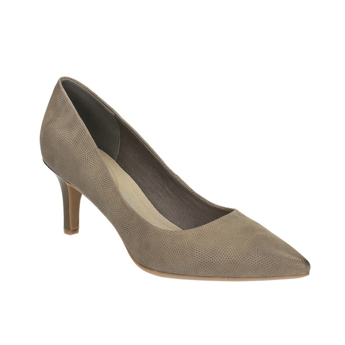 Czółenka damskie na średnio wysokim obcasie bata, brązowy, 626-2601 - 13