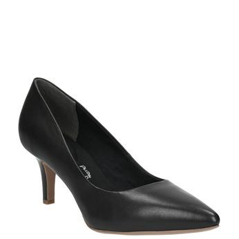 Czarne skórzane czółenka z miękką wkładką bata, czarny, 624-6388 - 13