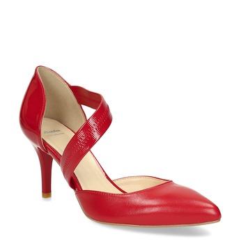 Skórzane czółenka z paskiem bata, czerwony, 724-5904 - 13