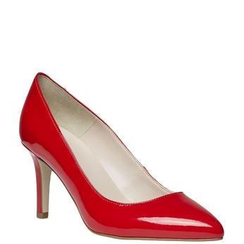 Czerwone skórzane czółenka bata, czerwony, 728-5955 - 13