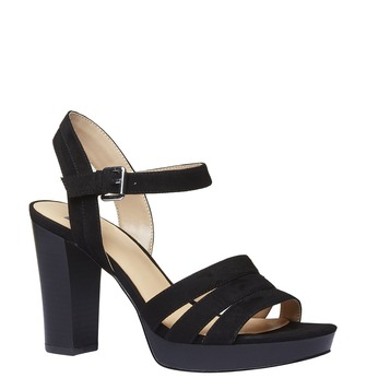 Damskie sandały na szerokim obcasie bata, czarny, 769-6484 - 13