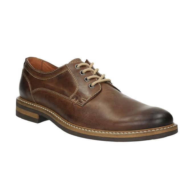 Skórzane półbuty w nieformalnym stylu bata, brązowy, 824-4654 - 13
