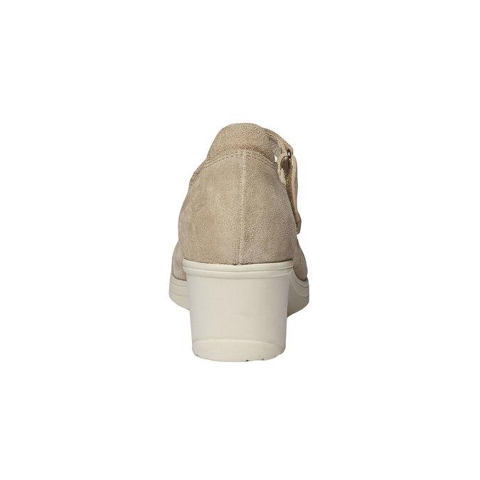 Skórzane czółenka na koturnie bata-touch-me, beżowy, 623-8392 - 17
