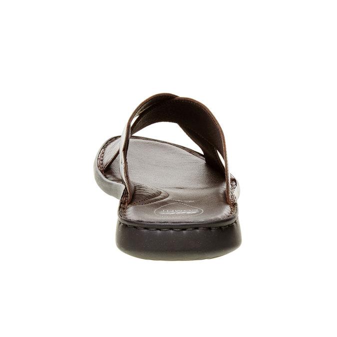 Męskie skórzane klapki, brązowy, 874-4161 - 17