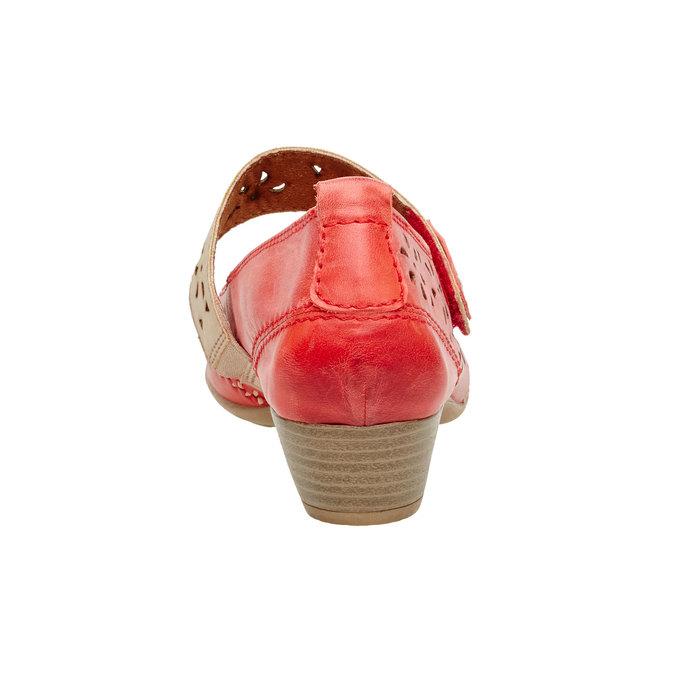 Skórzane czółenka z paskiem bata, czerwony, 624-5103 - 17