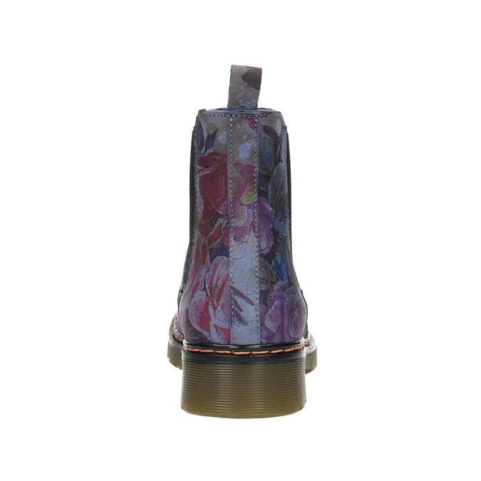 Skórzane Chelsea Boots z kwiatowym wzorem bata, niebieski, 596-9620 - 17