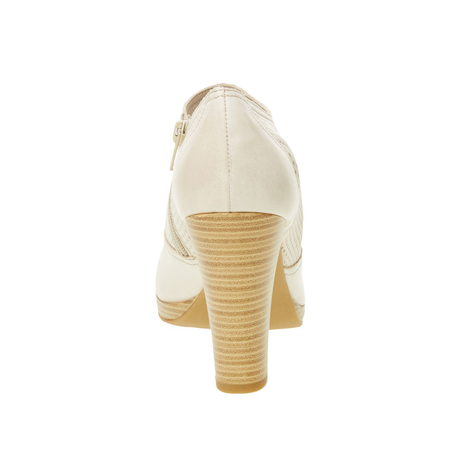 Skórzane półbuty na obcasie bata, biały, 724-8932 - 17