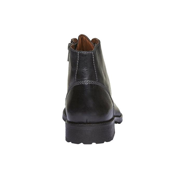 Skórzane botki z charakterystycznymi przeszyciami bata, czarny, 894-6125 - 17