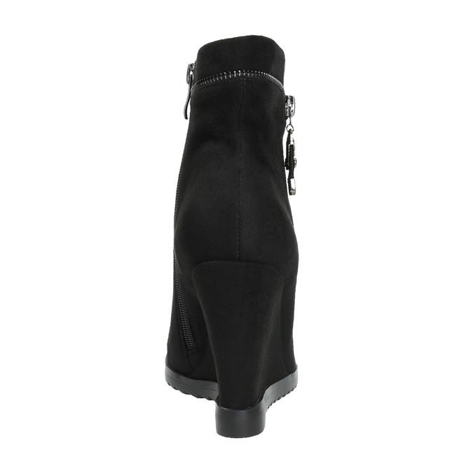 Botki damskie na koturnie bata, czarny, 799-6631 - 17