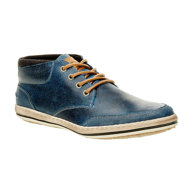 Niebieskie skórzane buty do kostki bata, niebieski, 844-9620 - 13