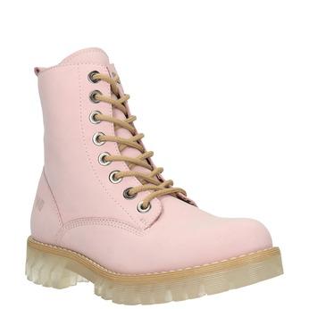 Skórzane sznurowane buty na transparentnej podeszwie weinbrenner, różowy, 596-5639 - 13