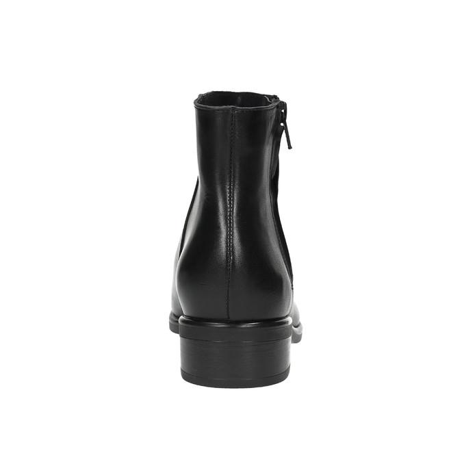Czarne skórzane botki z suwakami bata, czarny, 594-6518 - 17