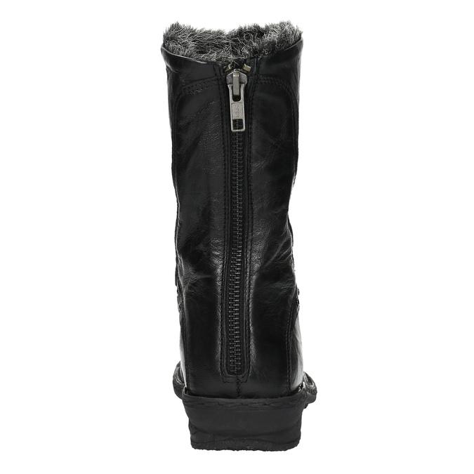 Skórzane ocieplane botki bata, czarny, 596-6624 - 17