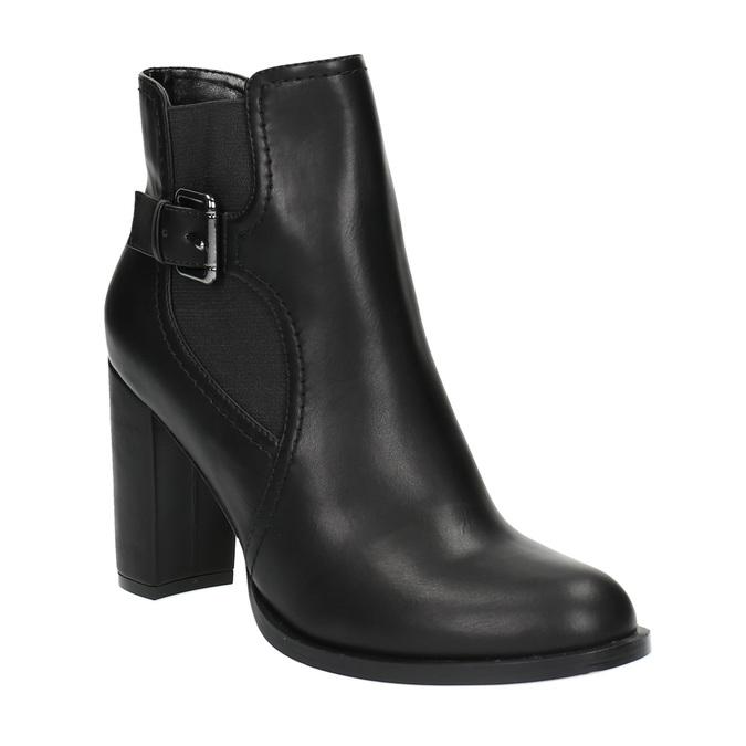 Botki na obcasie ze sprzączką bata, czarny, 791-6610 - 13