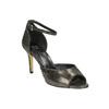 Sandały na szpilce, z metalicznymi refleksami bata, czarny, 729-8630 - 13