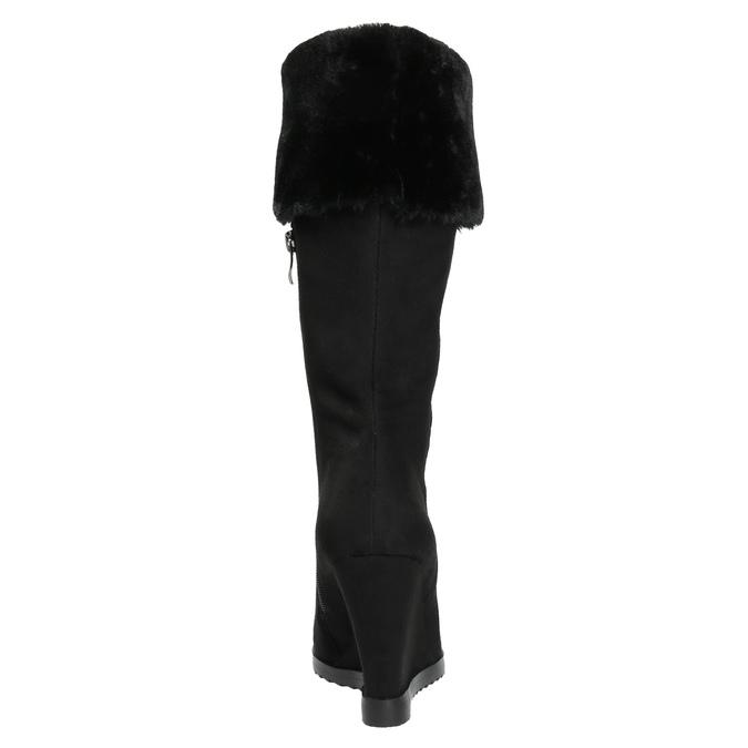 Kozaki na koturnie, z futrzanym mankietem bata, czarny, 799-6630 - 17