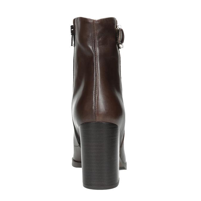 Skórzane buty do kostki na obcasie bata, brązowy, 794-4635 - 17