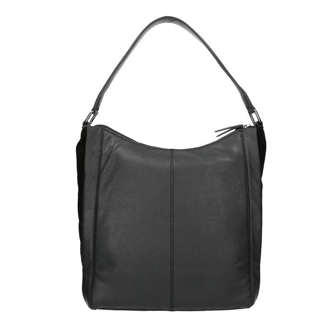 Czarna skórzana torebka w stylu Hobo bata, czarny, 964-6254 - 19