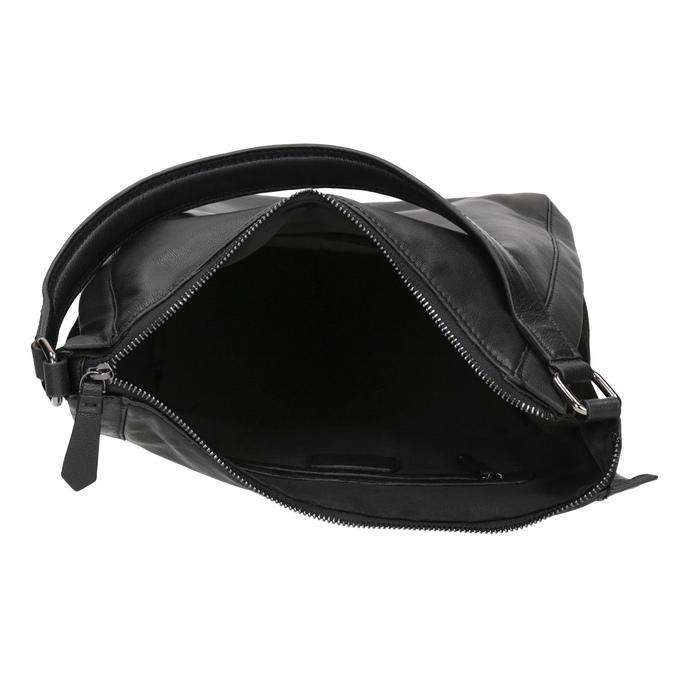 Czarna skórzana torebka w stylu Hobo bata, czarny, 964-6254 - 15